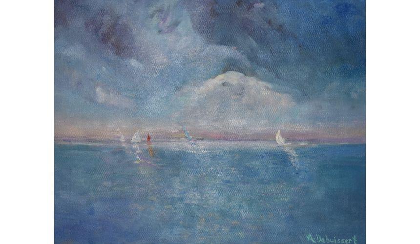 Original Oil Paintings By Artist: Anne-Marie Debuissert Sea-Breezing By Artist Anne-Marie Debuissert