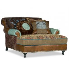 Double chair chaise with Cheetah fabric.
