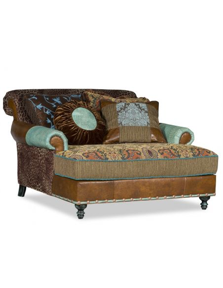 Luxury Leather & Upholstered Furniture Double chair chaise with Cheetah fabric.
