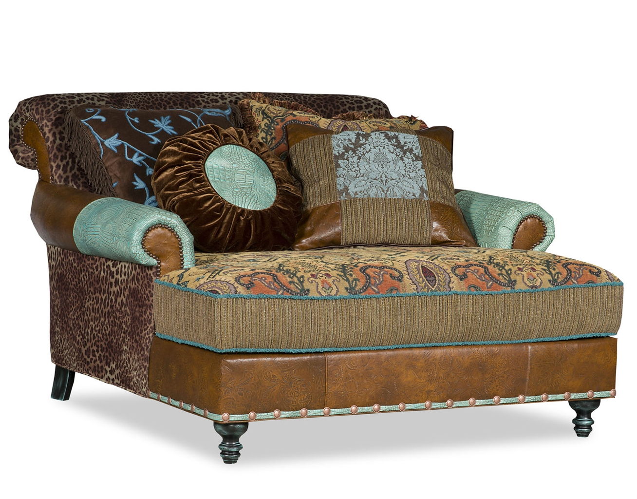 Luxury Leather u0026 Upholstered Furniture Double chair chaise with Cheetah fabric.  sc 1 st  Bernadette Livingston : cheetah chaise - Sectionals, Sofas & Couches
