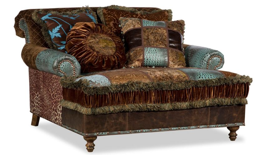 Luxury Leather & Upholstered Furniture Double chair chaise 4422