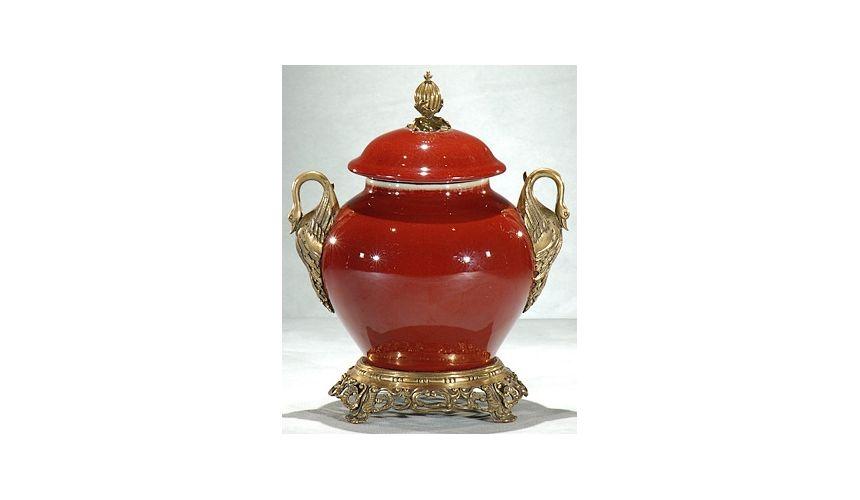 Decorative Accessories Swan Detailing Porcelain Jar