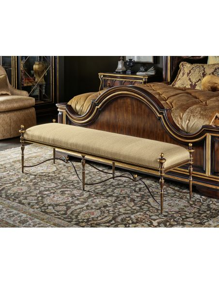 SETTEES, CHAISE, BENCHES Elegant Golden Honeycomb Bench
