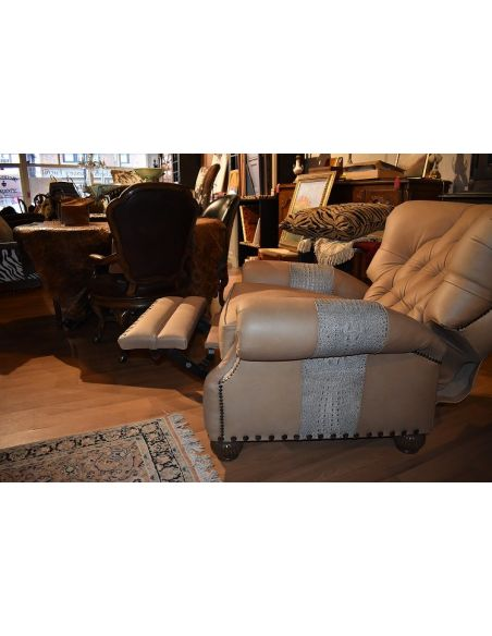 MOTION SEATING - Recliners, Swivels, Rockers Leather and Gator Hide Churchill Tufted Recliner Chair 6622
