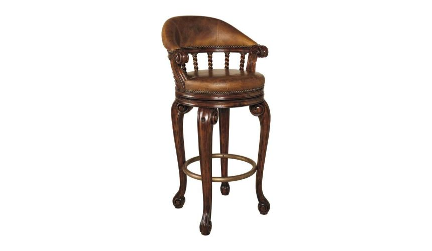Upscale Bar Furniture Swivel Barstool, With Lion's Head
