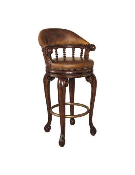 Upscale Bar Furniture Swivel Barstool, With Lion's Head
