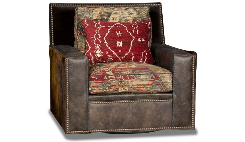 CHAIRS, Leather, Upholstered, Accent Hair on hide western style swivel chair
