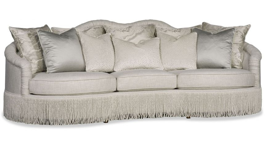 Modern and frilly large comfy sofa