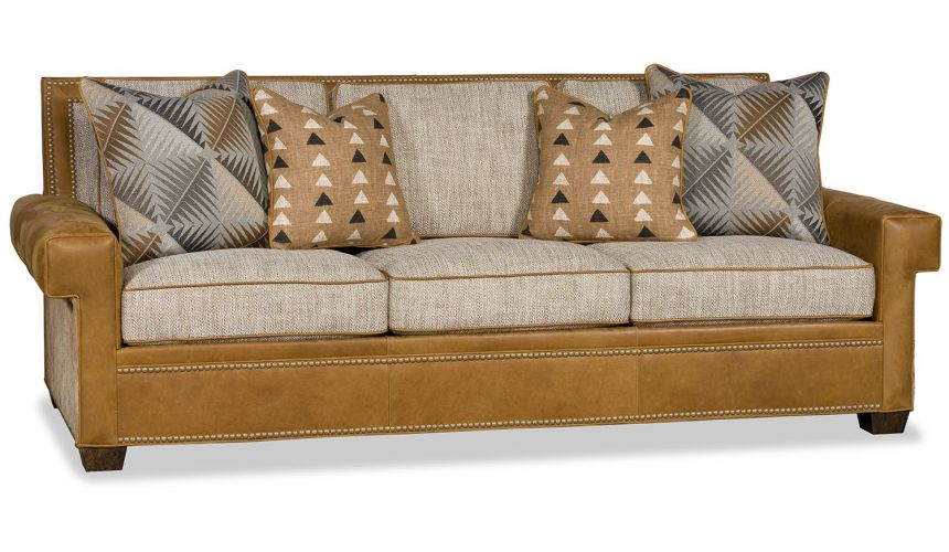 SOFA, COUCH & LOVESEAT Luxury leather and fabric transitional sofa