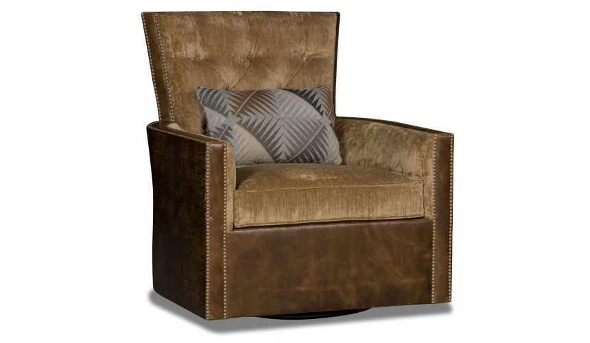 MOTION SEATING - Recliners, Swivels, Rockers Swivel embossed gator brown and tan library chair