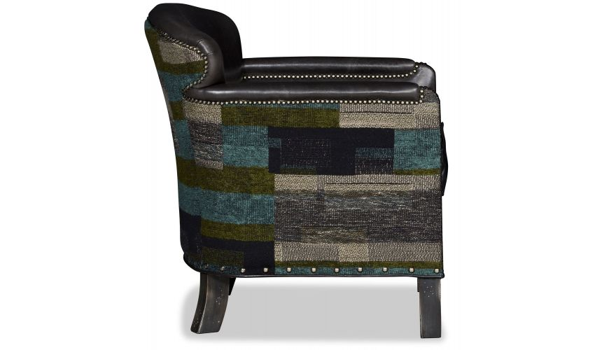 Modern Furniture Eclectic colors and fancy details barel chair