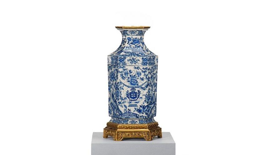 Decorative Accessories High Quality Furniture Blue White Hex Vase