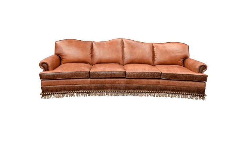 End Rustic Orange Desert Sands Sofa, Rustic Leather Furniture