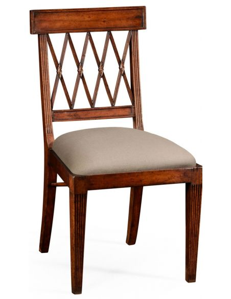 Regency style lattice back dining side chair