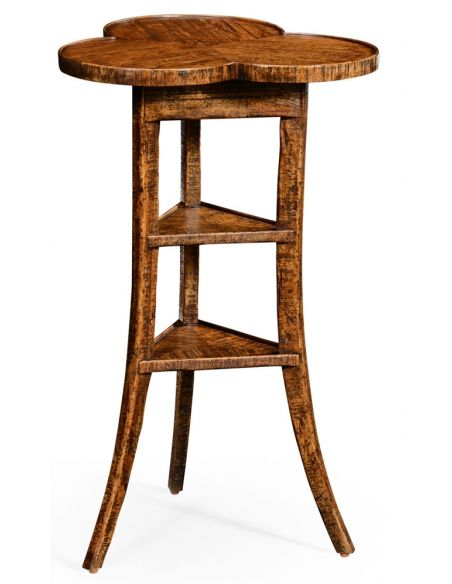 Plank walnut trefoil side table.