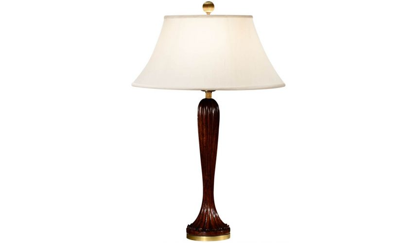 Table Lamps Mahogany fluted table lamp