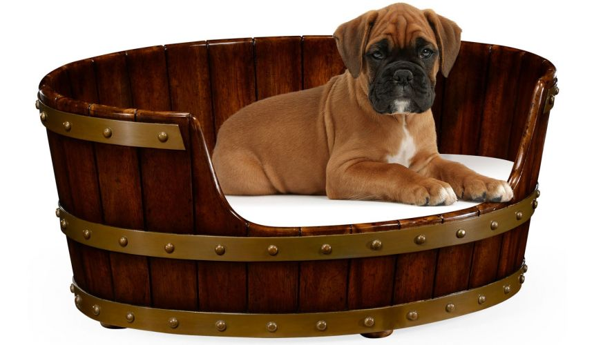 Walnut wooden dog bed.