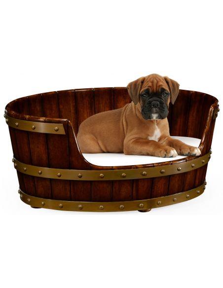 Walnut wooden dog bed.