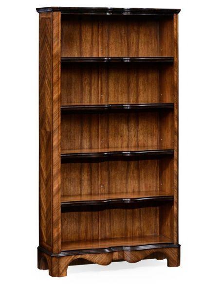 Argentinian walnut tall open bookcase