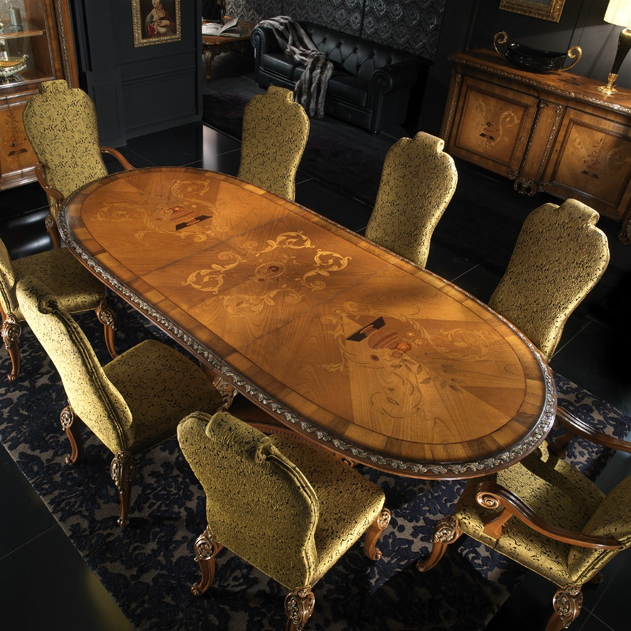 High end dining room table italian furniture for Dining room end chairs