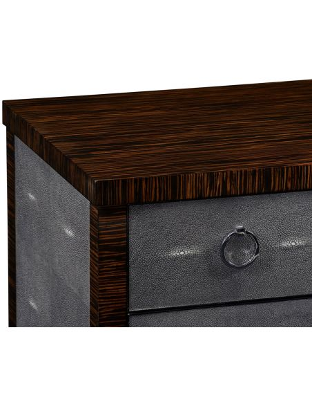 Faux macassar ebony & anthracite shagreen double chest.