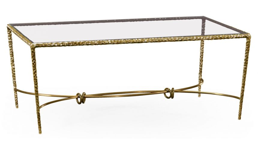 Brass hammered rectangular coffee table