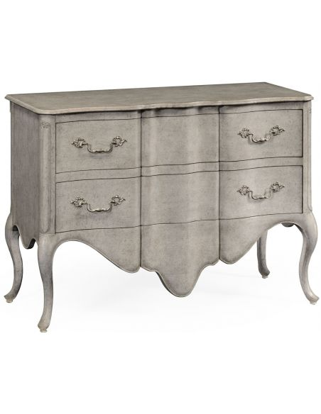 Grey painted French provincial style chest of drawers.