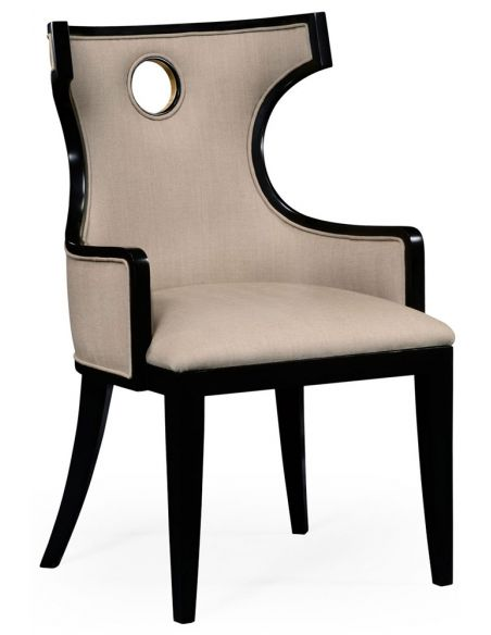 Greek revival Biedermeier black armchair.
