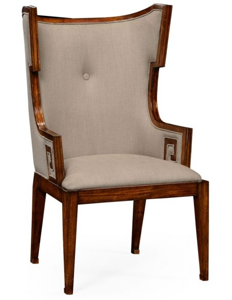 Greek key design Biedermeier walnut armchair