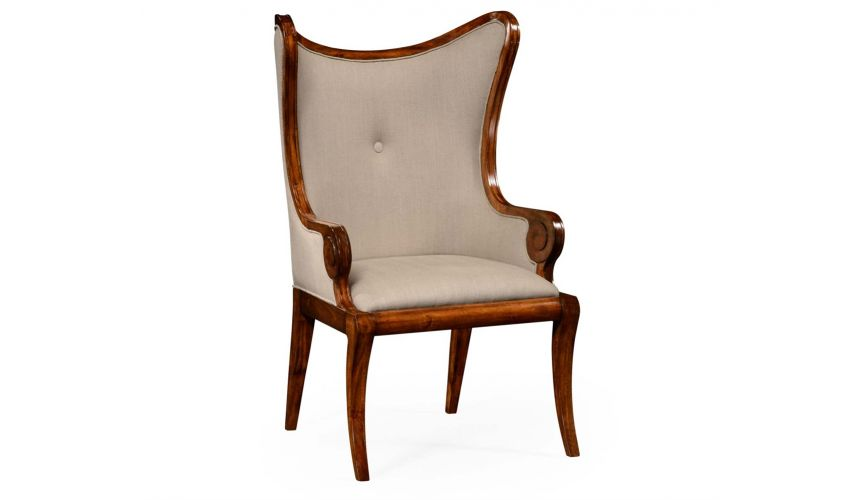 "Walnut ""butterfly"" upholstered armchair."