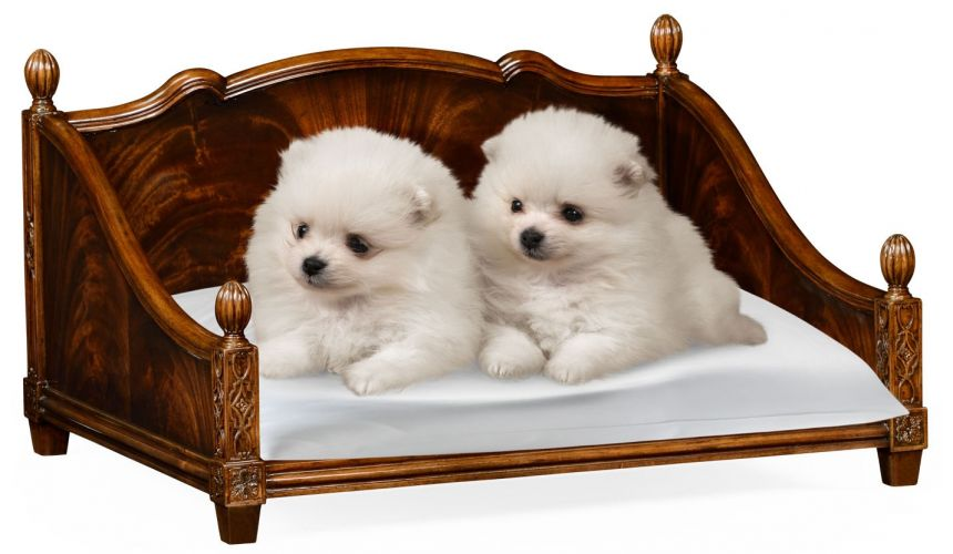 Mahogany veneer four poster dog bed.