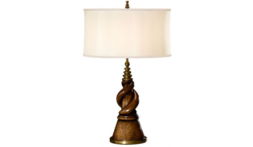 Twisted walnut table lamp.