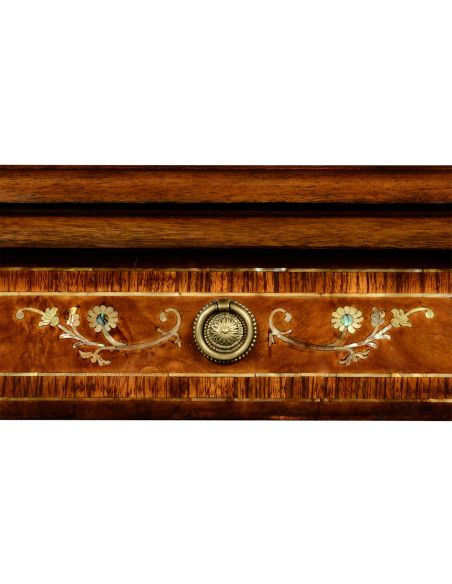 Burr and mother of pearl inlaid nest of two tables with carved legs