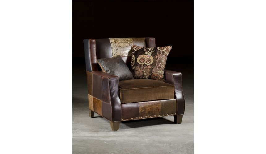 Luxury Leather & Upholstered Furniture Copper Patches Chair, High Quality Furnishings