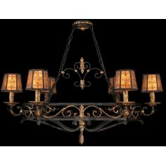Island fixture in charred iron finish with brule highlights