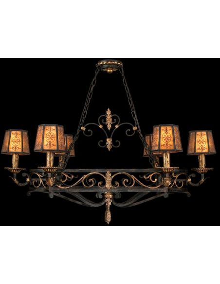 Lighting Island fixture in charred iron finish with brule highlights