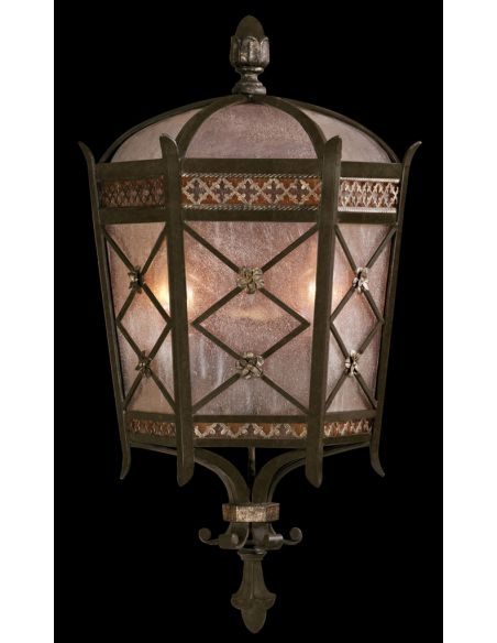 Lighting Medium wall mount coupe of solid brass featuring a variegated rich umber patina