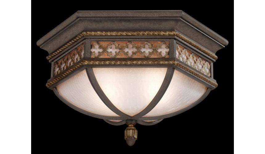 Lighting Large flush mount of solid brass featuring a variegated rich umber patina