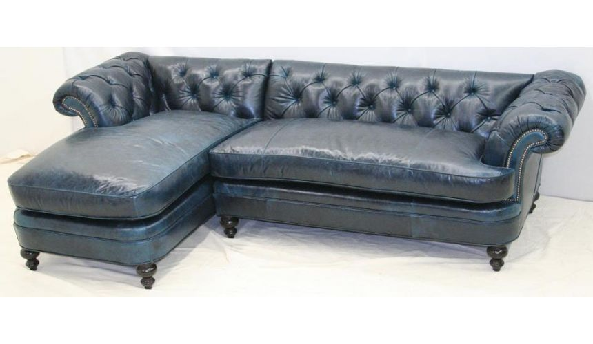Blue leather sofa with chaise
