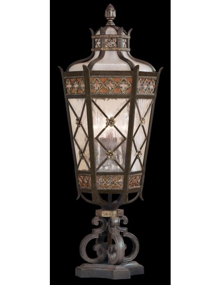 Lighting Medium pier mount of solid brass featuring a variegated rich umber patina