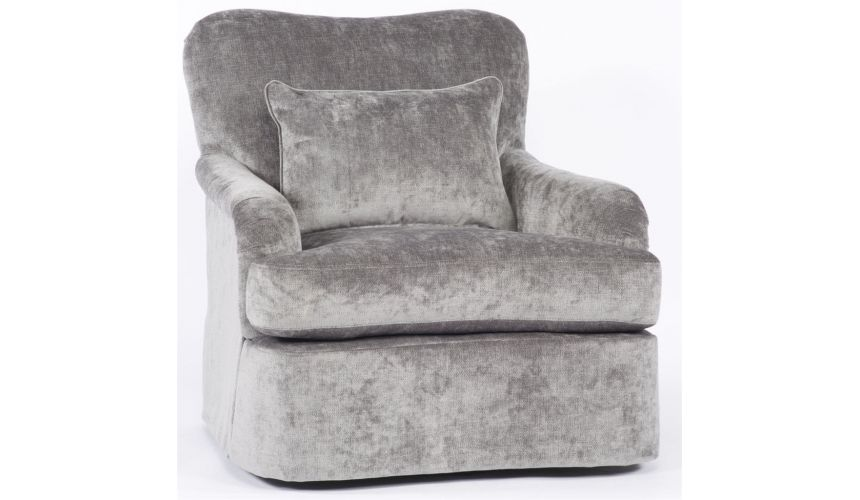Luxury Leather & Upholstered Furniture Grey Comfy Swivel Chair,