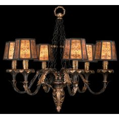 Chandelier in charred iron finish with brule highlights