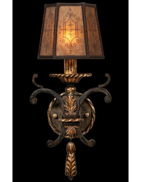 Lighting Wall sconce in charred iron finish with brule highlights