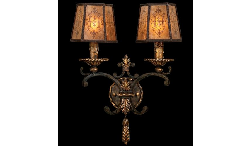 Lighting Wall sconce in charred iron finish features brule highlights