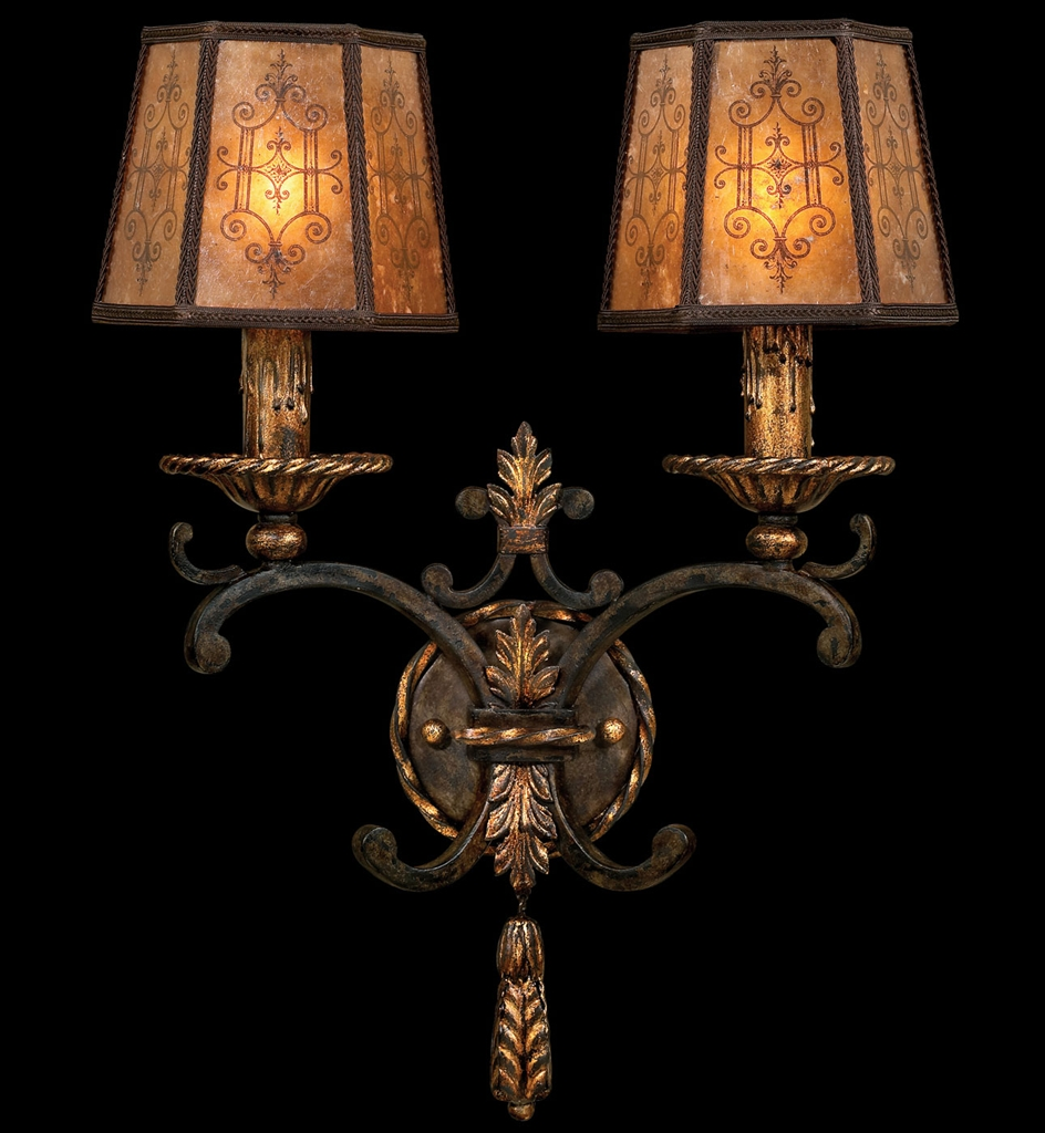 Wall Sconces High End : Wall sconce in charred iron finish features brule highlights
