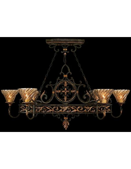 Lighting Island fixture in charred iron finish features intricate rosette