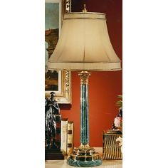 Aqua Blue Brass Lamp