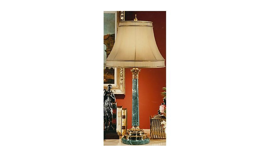 Aqua Blue Brass Lamp
