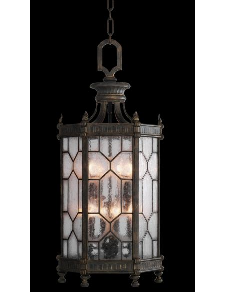 Lighting Large lantern in antiqued bronze finish with subtle gold accents