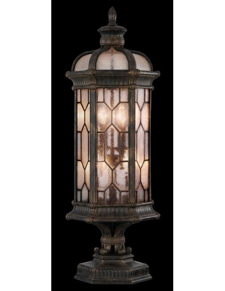 Lighting Medium pier mount in antiqued bronze finish with subtle gold accents